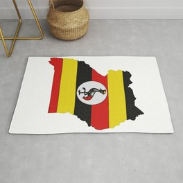 Uganda Map with Ugandan Flag Rug