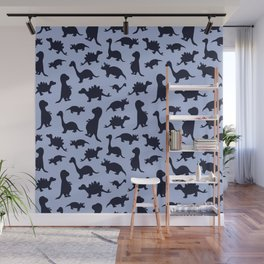 Dinosaurs cute pattern blue and navy Wall Mural