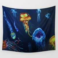jelly fish Wall Tapestries featuring Jelly-Jelly-Fish by Fknjedi1