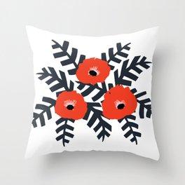 Summer Poppy Floral Print Throw Pillow