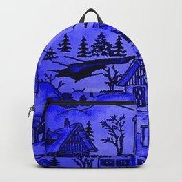 winter village,blue Backpack