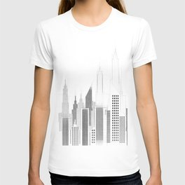 Modern City Buildings And Skyscrapers Sketch, New York Skyline, Wall Art Poster Decor, New York City T-shirt