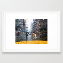 NYC Taxi in the Rain Framed Art Print