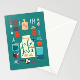 Julie and Julia, minimal movie poster, Meryl Streep, Amy Adams, Nora Ephron film, Julia Child, cook Stationery Cards