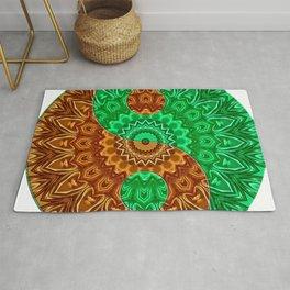 Green-brown Yin a Yang Rug