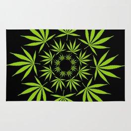 Cannabis Leaf Circle (Black) Rug
