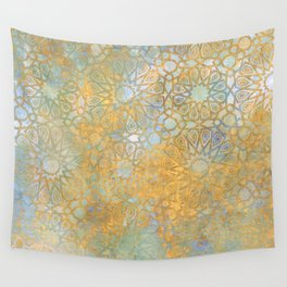 gold arabesque vintage geometric pattern Wall Tapestry