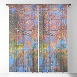 Colorful, Autumn In New Hampshire Sheer Curtain
