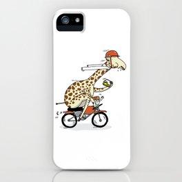 Giraffe on a motorbike eating a cheese sandwich... iPhone Case