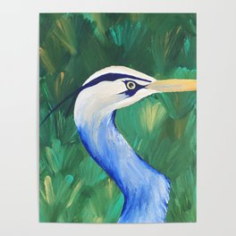 Heron in the Grass Poster