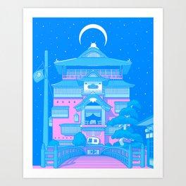 New Tokyo Moonrise - Spirited Bathhouse Art Print