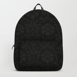 Black wallpaper vintage flock with Gray damask design on a black background retro vintage style Backpack