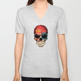 Dark Skull with Flag of Serbia Unisex V-Neck