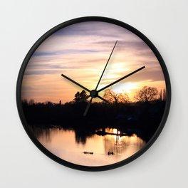 Floodplain at Sunset 4 Wall Clock