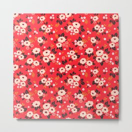 05 Ditsy floral pattern. Red background. White and pink flowers. Metal Print