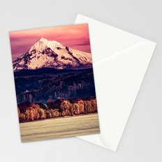 Mountains and Forest Water Sunset - Mt Hood Snow Mountain over Columbia River Stationery Cards