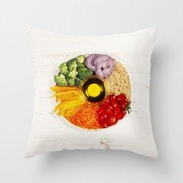 Vegetarian food bowl Throw Pillow