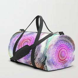 Modern Mandala Spiral Galaxy Space Textured Multi Colored / Pink Green Gray Black Duffle Bag