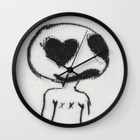 larry Wall Clocks featuring Larry by Anna Dunlap Hartshorn