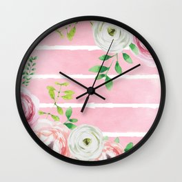 FLOWERS WATERCOLOR 4 Wall Clock