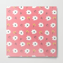 Modern hand painted pink white yellow floral illustration Metal Print