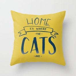 home is where the cats are - yellow and blue ombre Throw Pillow