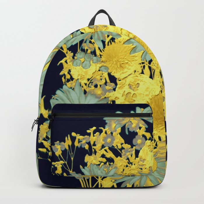 blue daisies and gold Backpack
