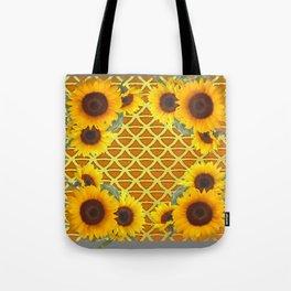 GOLDEN SUNFLOWERS  GREY ART PATTERN DESIGN Tote Bag