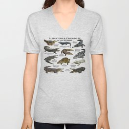 Alligators and Crocodiles of the World Unisex V-Neck