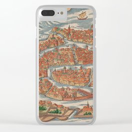 Vintage Pictorial Map of Venice Italy (1550) Clear iPhone Case