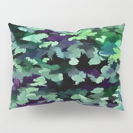 Foliage Abstract Pop Art In Jade Green and Purple Pillow Sham