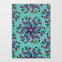 3 Swirl Wallpaper - Teal Canvas Print
