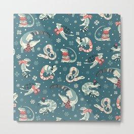 Winter herps in dark blue Metal Print