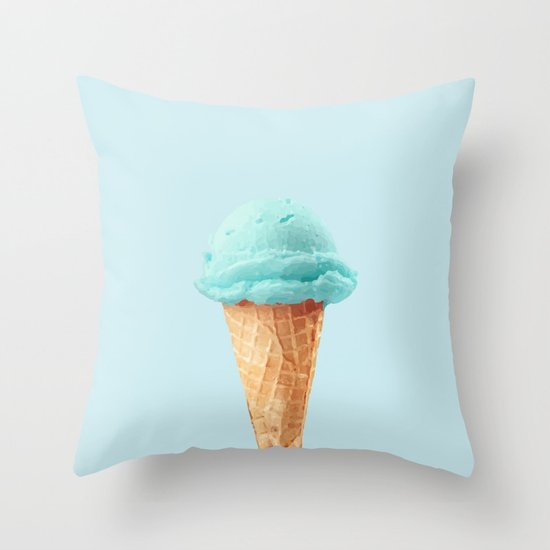 Ice Cream Throw Pillows : Blue ice cream Throw Pillow by Gaiadesign Society6