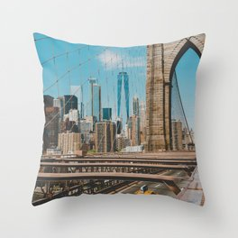 The Bridge in New York City (Color) Throw Pillow