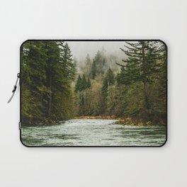 Wanderlust Forest River - Mountain Adventure in Foggy Woods Laptop Sleeve