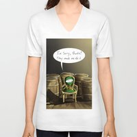 pewdiepie V-neck T-shirts featuring Mr. Chair, NO! by MuddyTiger