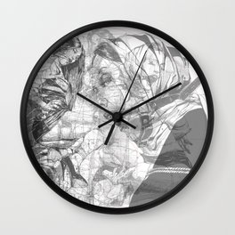 SOLVE ET COAGULA. New Composition. Ladies. Damascus. Triptych. Part 3. Illustration. INK ART. Yury F Wall Clock