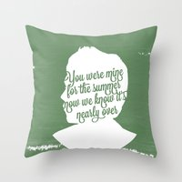 niall horan Throw Pillows featuring Niall Horan Silhouette  by Holly Ent