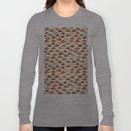 Fish pattern in abstract doodle style Long Sleeve T-shirt