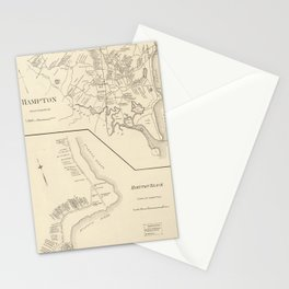 Vintage Map of Hampton Beach NH (1892) Stationery Cards