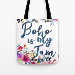 #bohoismyjam | Boho is my jam | Watercolor floral Tote Bag