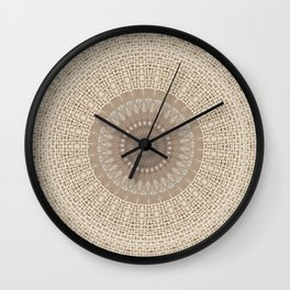 Unique Texture Taupe Burlap Mandala Design Wall Clock