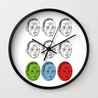 talking heads Wall Clocks featuring Heads by Nü Köza