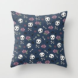Little kawaii skulls and roses day of the dead halloween pattern navy pink Throw Pillow