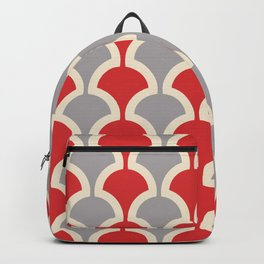 Classic Fan or Scallop Pattern 417 Gray and Red Backpack