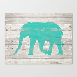 Turquoise Elephant on White Wood A222b Canvas Print