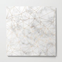 Marble Gold Geometric Texture Metal Print