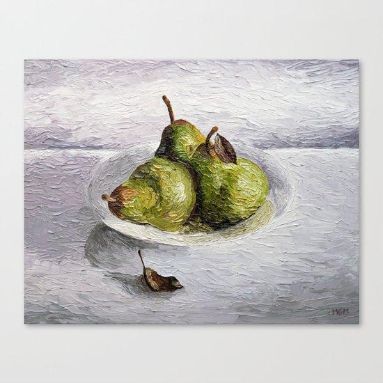 Three Pear Still Life Canvas Print