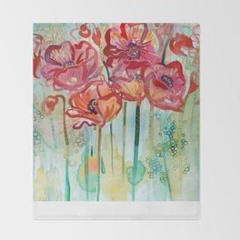 River Poppies Throw Blanket